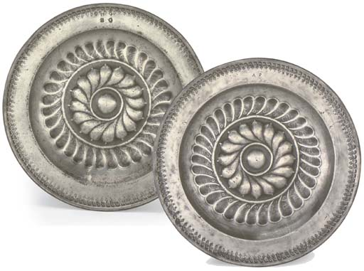A PAIR OF ENGLISH PEWTER ROSEW