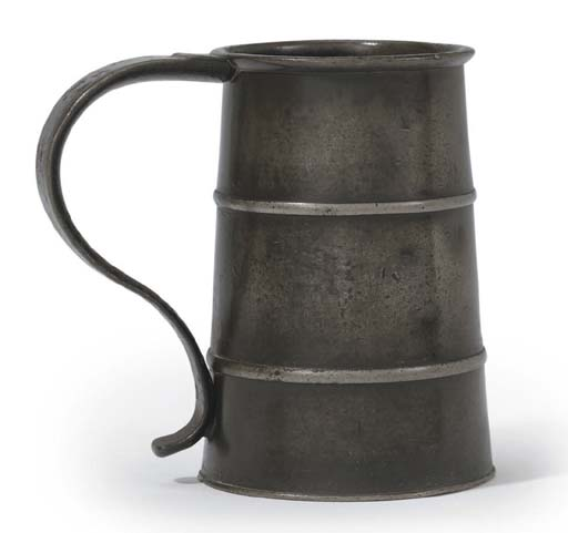 A UNIQUE ENGLISH PEWTER BANDED