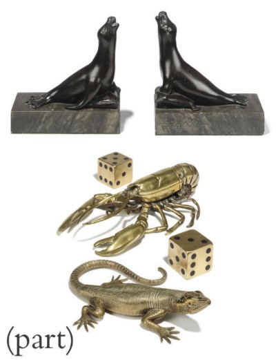 A PAIR OF BRONZE BOOKENDS, MOD