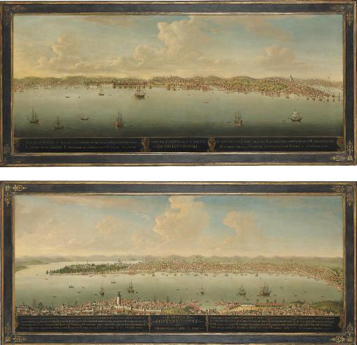 'Prospectiva di Constantinopoli per Tramontana parte del porto', and 'Veduta d'Arsenale e di Galata da Constantinopoli'