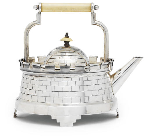 A VICTORIAN SILVER-PLATED TEAPOT