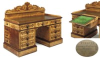 AN EARLY VICTORIAN IVORY-INLAID BIRD'S-EYE MAPLE, MAHOGANY AND MARQUETRY PEDESTAL DRESSING-TABLE