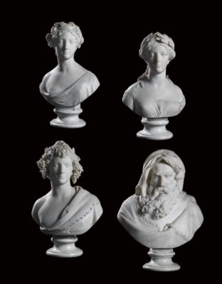 A GROUP OF FOUR ITALIAN CARVED