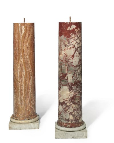 TWO ITALIAN ALABASTER AND MARB