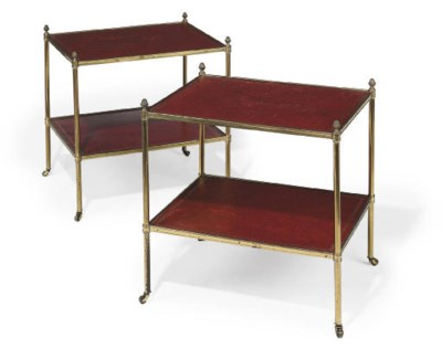 A PAIR OF BRASS AND RED LEATHE