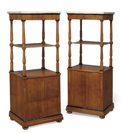 A PAIR OF ITALIAN FRUITWOOD AN
