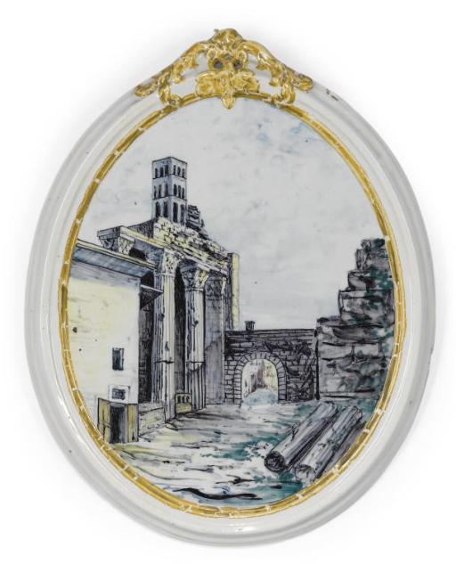 AN ITALIAN MAIOLICA OVAL PLAQU