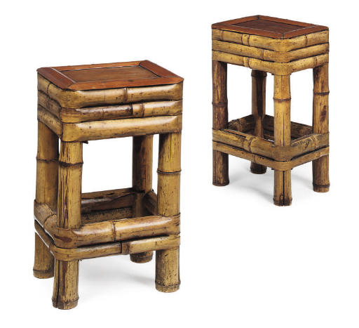 TWO CHINESE RATTAN AND BAMBOO