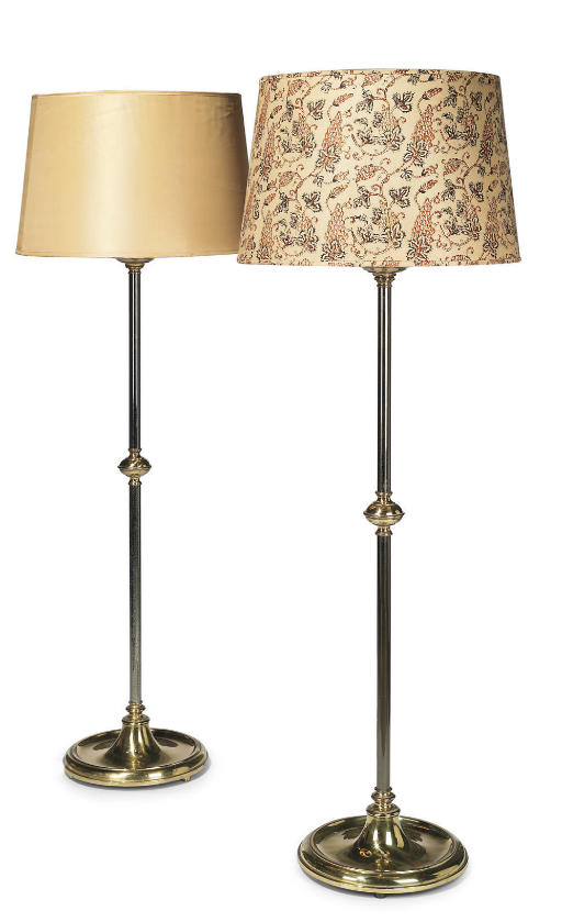 A PAIR OF BRASS AND POLISHED S