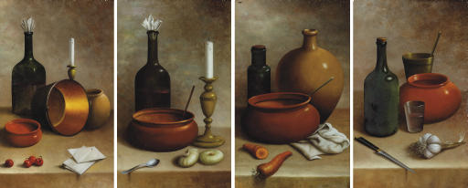 Still lifes of kitchen implements, bottles, candlesticks and vegetables