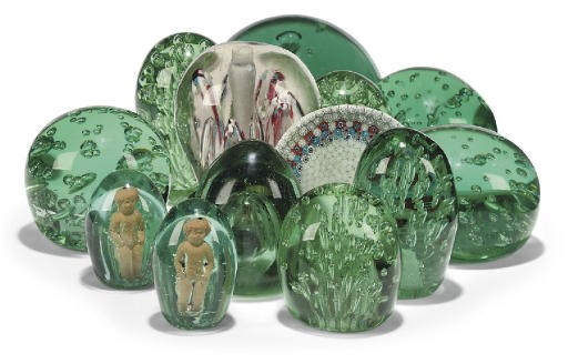 THIRTEEN VARIOUS GREEN GLASS '