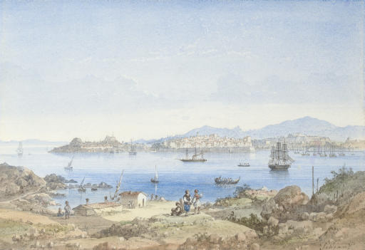 View of Corfu from the island of Vido