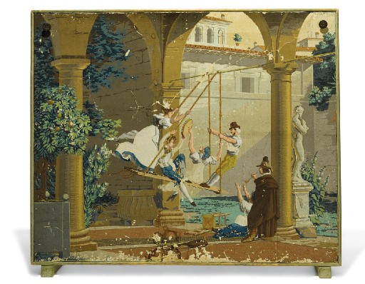 A FRENCH PAINTED WALLPAPER PAN