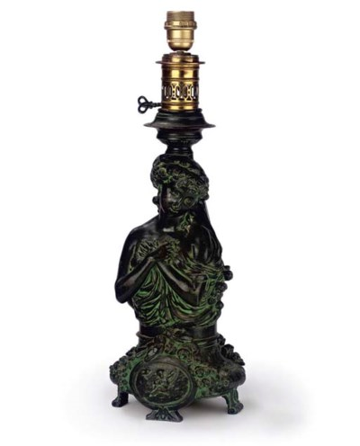 AN ITALIAN GREEN PATINATED SPE