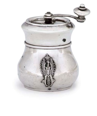 A FRENCH SILVER PEPPER MILL