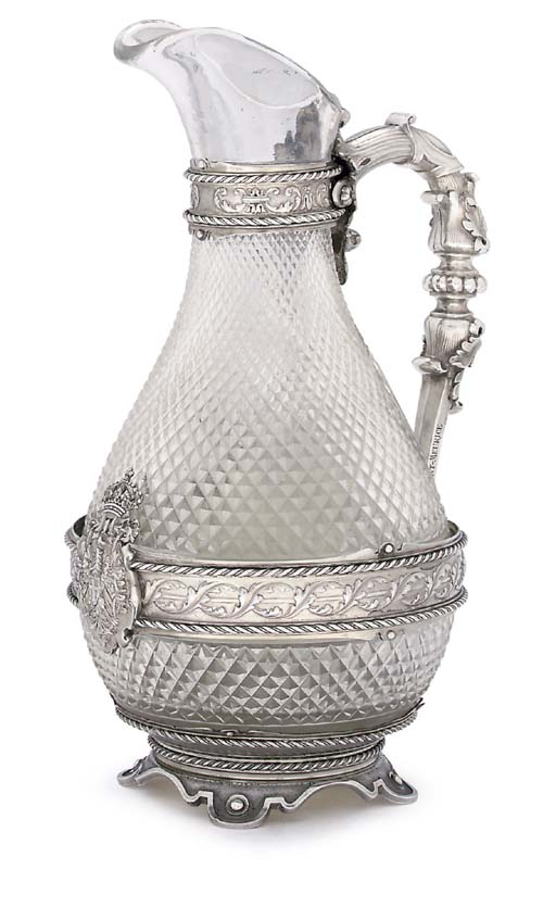 A FRENCH SILVER-MOUNTED CARAFE