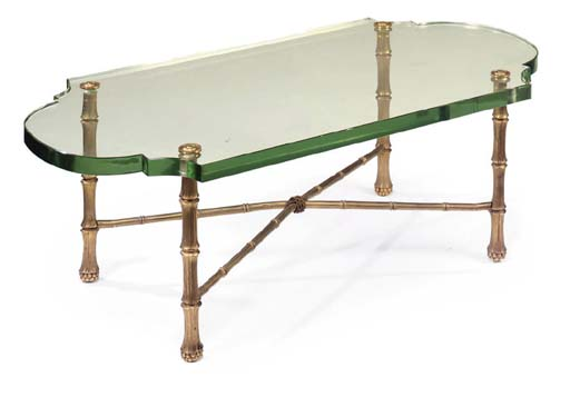 A GLASS AND ORMOLU LOW TABLE