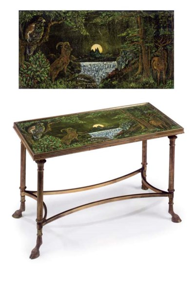 A ROYAL GLASS AND ORMOLU LOW T