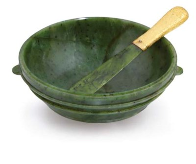 A CARVED NEPHRITE BOWL AND A G