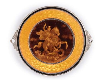 A MEDALLION ENAMELLED WITH ST.