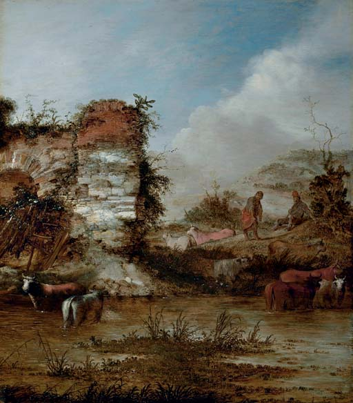A river landscape with cattle watering by a ruin and herdsmen resting on the bank