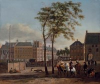 The Plaats with the Buitenhof and the Gevangenpoort, The Hague, with an elegant hawking party