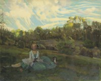 A girl in an evening landscape