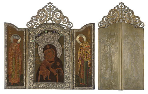 A TRIPTYCH PORTRAYING THE MOTHER OF GOD OF FEODOR WITH STS. ALEXANDRA AND NICHOLAS