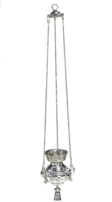 A SILVER LAMPADA WITH A PIERCE