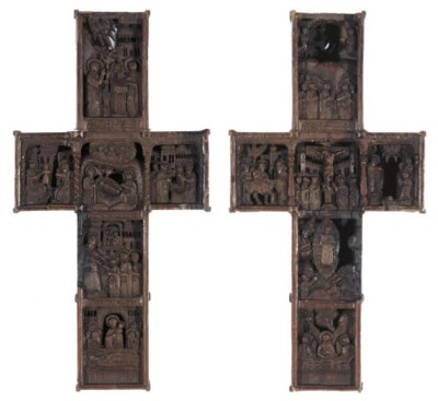 A CARVED-WOODEN CROSS REPRESEN