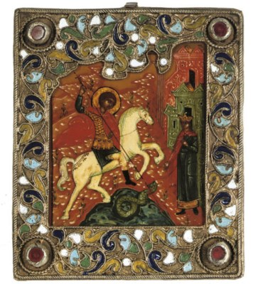 A TRAVELLING ICON DEPICTING ST