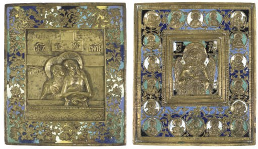 TWO BRASS AND ENAMEL ICONS