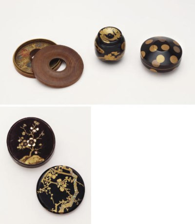 Four lacquer kogo and a chaire
