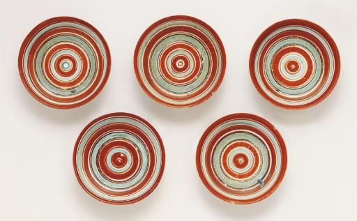 A set of five Arita dishes