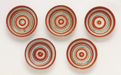 A set of five Arita dishes