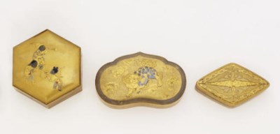 Four lacquer kogo [incense box