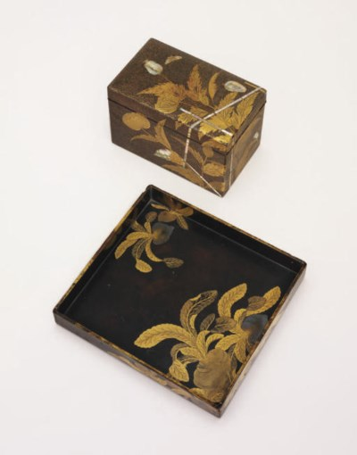 A lacquer tray and a chabako [