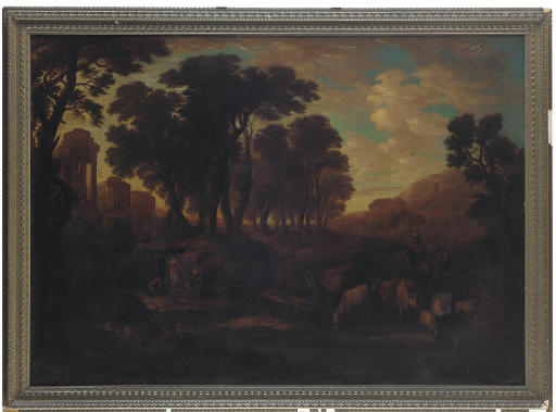 A classical landscape with shepherds resting near roman ruins