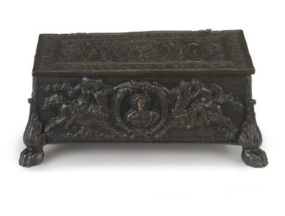 A RECTANGULAR BRONZE CASKET