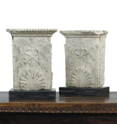 A PAIR OF CARVED MARBLE PILAST