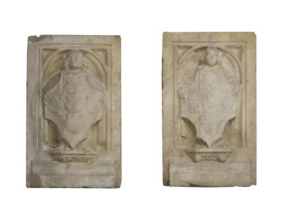 A PAIR OF RECTANGULAR CARVED M