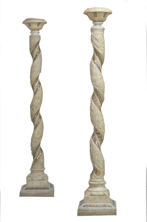 A PAIR OF GLASS INLAID SPIRALL