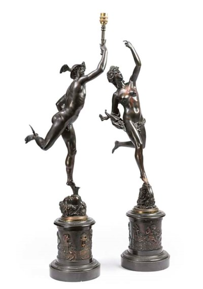 A PAIR OF CONTINENTAL BRONZE M