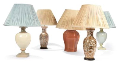 FIVE POTTERY TABLE LAMPS