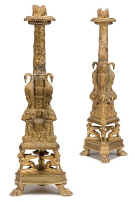 A PAIR OF VICTORIAN ORMOLU CAN