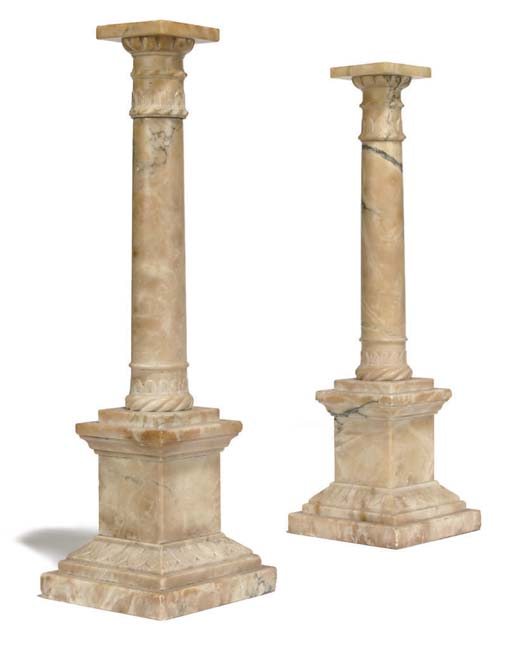 A PAIR OF ITALIAN ALABASTER CO