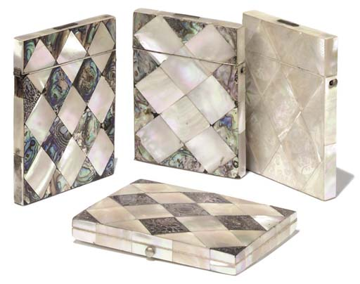 FOUR VICTORIAN MOTHER-OF-PEARL