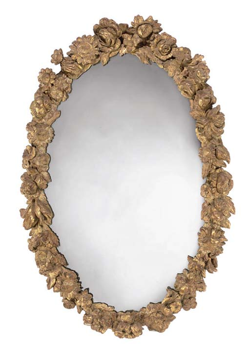 A NORTH EUROPEAN GILTWOOD OVAL