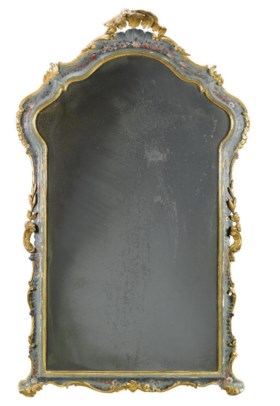 A VENETIAN POLYCHROME DECORATED AND PARCEL-GILT MIRROR