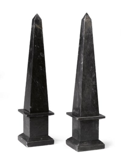 A PAIR OF BLACK FOSSIL MARBLE
